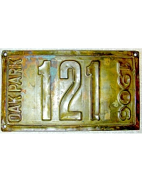 old Illinois brass license plate 6