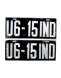 old Indiana leather license plate 2