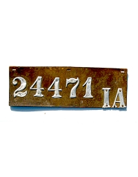 old Iowa leather license plate 8