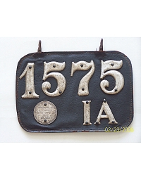 old Iowa leather license plate 2