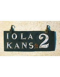 old Kansas leather license plate 5