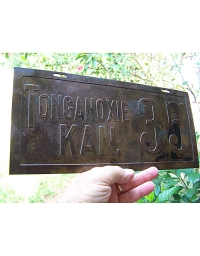 old Kansas brass license plate 3
