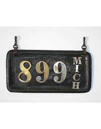 old Michigan leather license plate 2