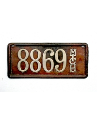 old Michigan leather license plate 7