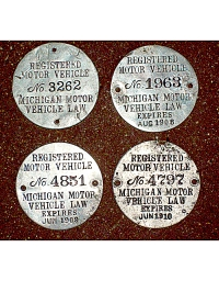 old Michigan metal dashboard discs