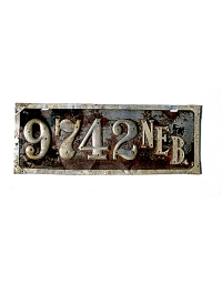 old Nebraska leather license plate 6