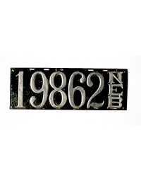 old Nebraska leather license plate 10