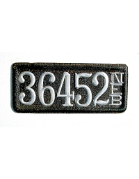 old Nebraska leather license plate 12