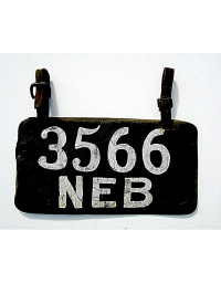 old Nebraska leather license plate 2