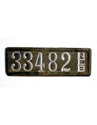 old Nebraska leather license plate 11