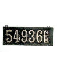 old Nebraska leather license plate 13