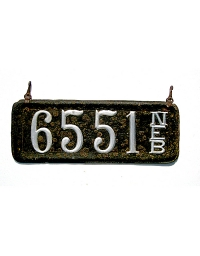 old Nebraska leather license plate 4