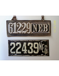 old Nebraska leather license plate 14