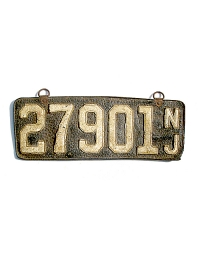 old New Jersey leather license plate 16