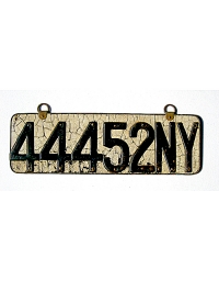 old New York leather license plate 12