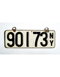 old New York leather license plate 16