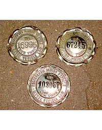 old New York aluminum dashboard discs