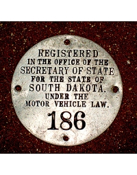 old South Dakota aluminum dashboard disc