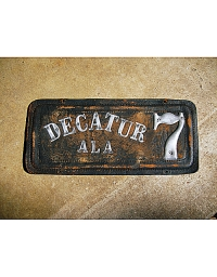 old Alabama leather license plate