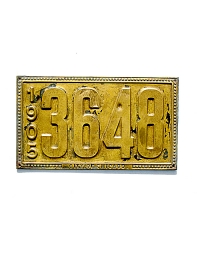 old Illinois brass license plate 8