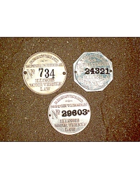 old Illinois metal dashboard discs