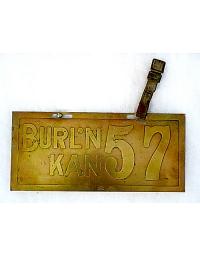 old Kansas brass license plate 2