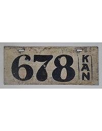 old Kansas wooden license plate