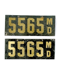 old Maryland leather license plate 4