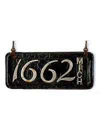 old Michigan leather license plate 3