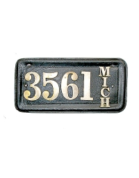 old Michigan leather license plate 5
