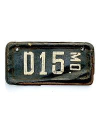 old Missouri leather license plate 13