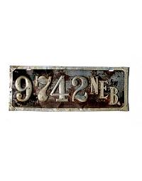 old Nebraska leather license plate 6