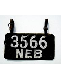 old Nebraska leather license plate 2