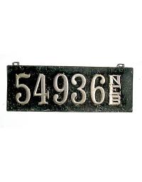 old Nebraska leather license plate 13