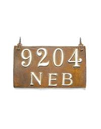 old Nebraska leather license plate 5
