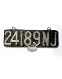old New Jersey leather license plate 13