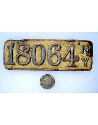 old New York leather license plate 8