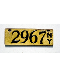 old New York wood license plate 1