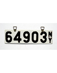 old New York porcelain license plates