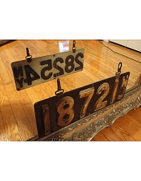 old New Jersey leather license plate