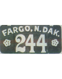 old North Dakota leather license plate 4