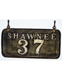 old Oklahoma leather license plate