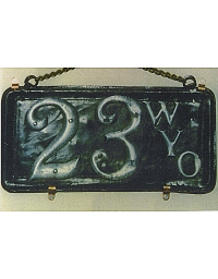 old Wyoming leather license plate